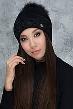 Женская шапка «Алиса» с цветным помпоном натуральным