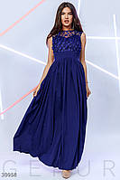 Вечернее платье-макси без рукавов цвет темно-синий