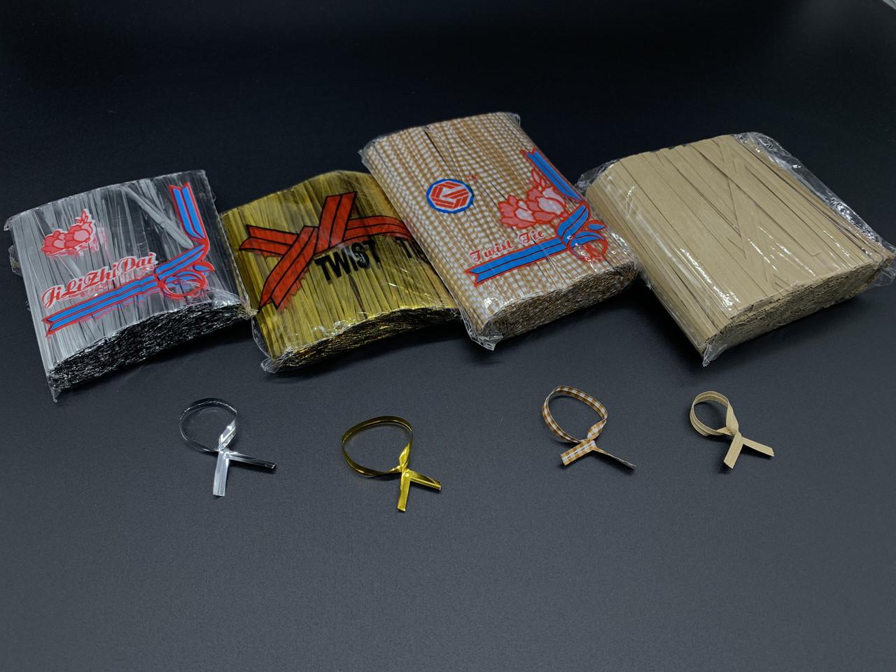 Скрутки завязки для пакетов. Фольгированая серебро. 10см. 760шт/уп
