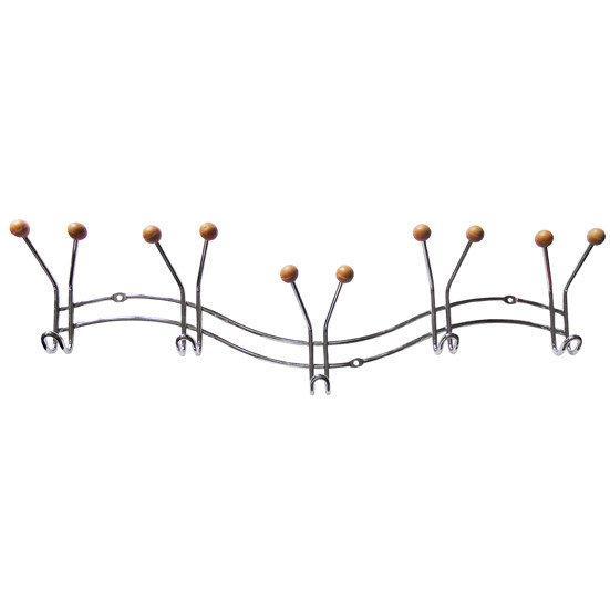 Вешалка хромированная с 5 тройными крючками 41.5*3.5*9.5 см с силиконовыми наконечниками