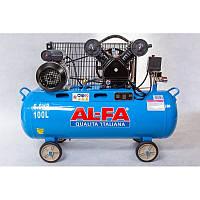 Компрессор поршневой AL-FA ALC100-2 : 3.8 кВт - 100 л. | Чугунный блок (2-x поршневый масляный)