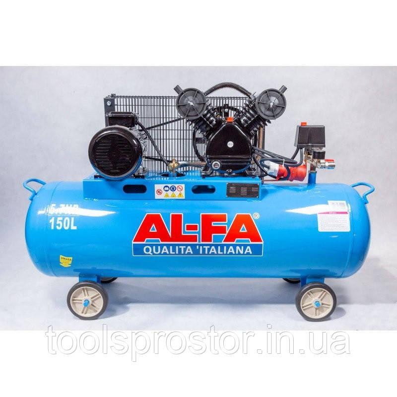 💡 Компрессор AL-FA ALC150-2 : 3.8 кВт - 150 л. | Чугунный блок (2-x поршневый масляный), фото 1