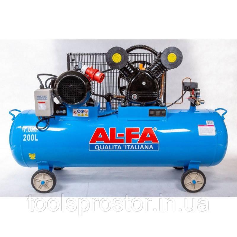 💡 Компрессор AL-FA ALC200-2 : 5.2 кВт - 200 л. | Чугунный блок (2-x поршневый масляный), фото 1