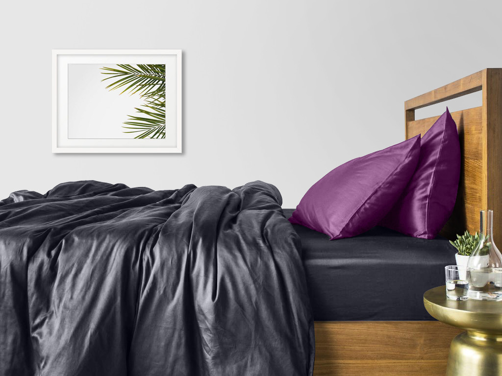 Комплект семейного постельного белья сатин GREY VIOLET-P