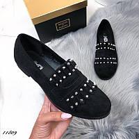 Женские туфли черные замшевые, фото 1