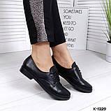 Классические черные женские туфли на шнуровке, фото 3