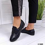 Классические черные женские туфли на шнуровке, фото 2