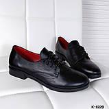 Классические черные женские туфли на шнуровке, фото 5