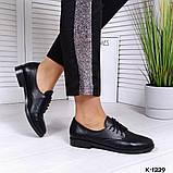 Классические черные женские туфли на шнуровке, фото 7