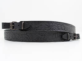 Ремень для ружья прямой тисненый жолудями кожаный 5031