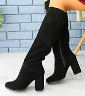 36,37,40 Красивые женские замшевые сапоги зимние на удобном каблуке черные А40HT15-1RC