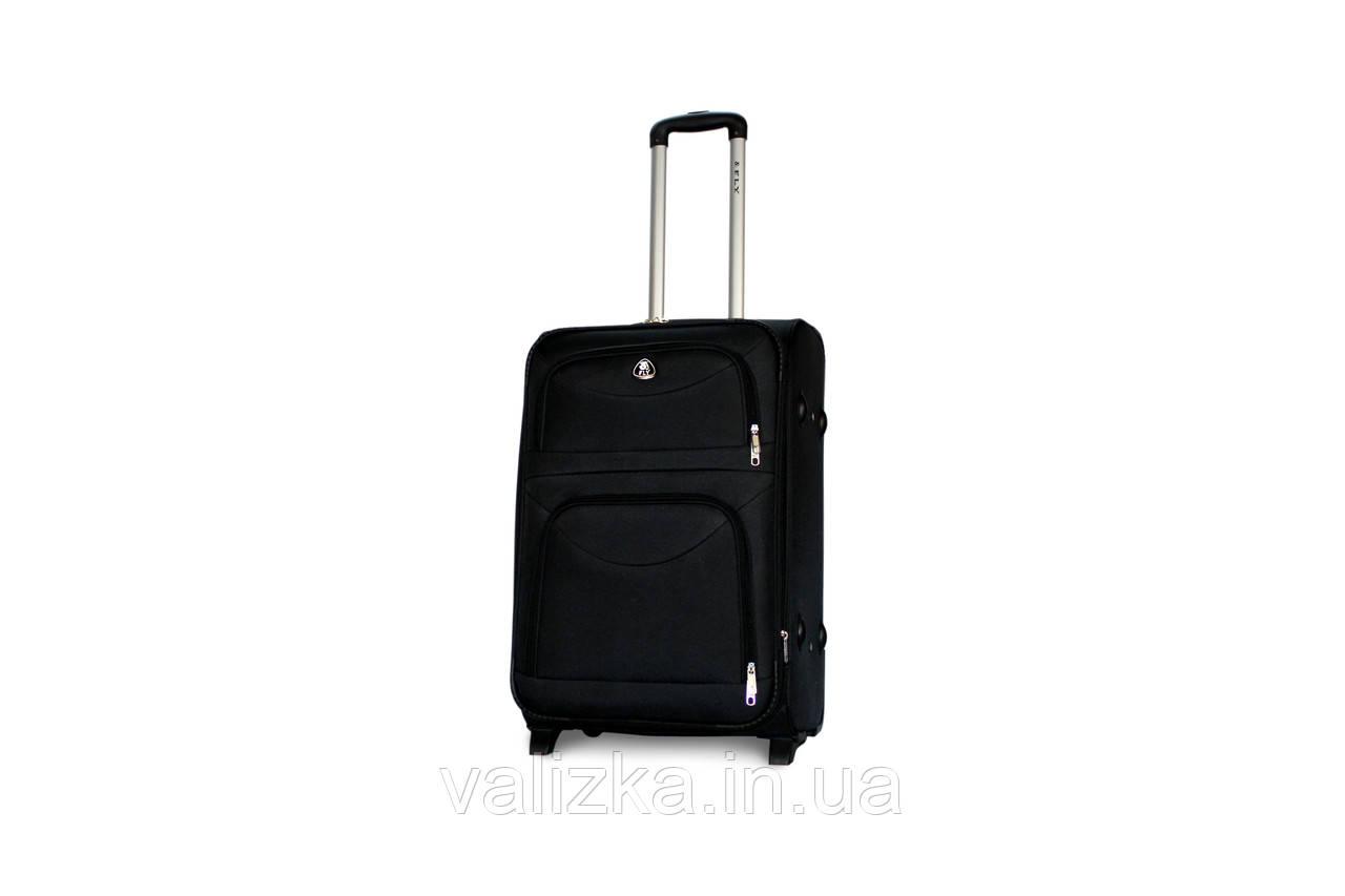 Средний текстильный чемодан на 2-х колесах с расширителем  Fly черный