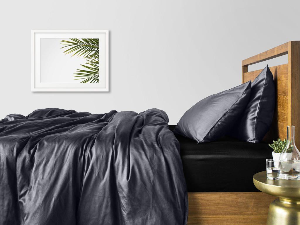 Комплект сімейного постільної білизни сатин GREY BLACK-S