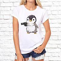 Женская футболка Push IT с принтом Пингвин с пистолетом