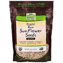 """Сырые семена подсолнечника NOW Foods """"Organic Raw Sunflower Seeds"""" сертифицированные, без соли (454 г)"""