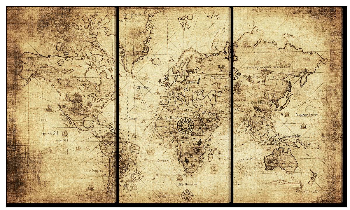 Модульная картина Interno Холст Старинная карта 84х47см (R1662S)