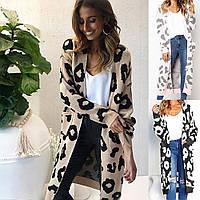 Кардиган женский вязаный с карманами леопардовый