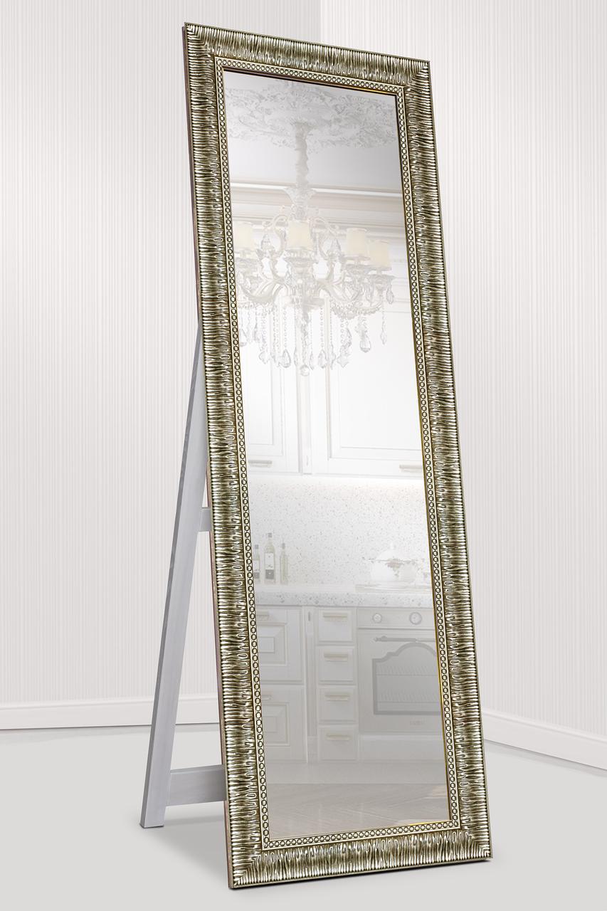 Зеркало напольное factura в пластиковом багете с опорной деревянной подставкой 60х174 см стальной