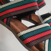 Босоножки шлепанцы на плоской подошве широкая резинка разные цвета низкий каблук, фото 3
