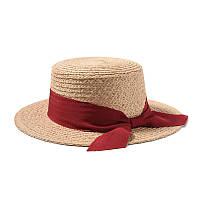 Женская соломенная шляпа канотье с бордовой ленточкой опт, фото 1