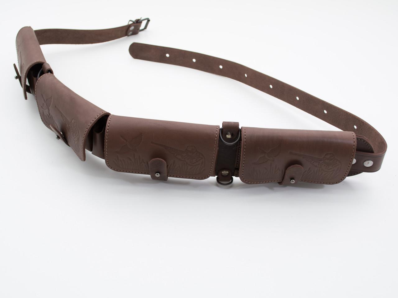 Патронташ на пояс на 24 патрона 20 калибр закрытый кожаный коричневый 5100/20/2