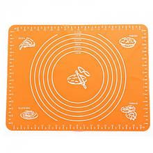 Силиконовый антипригарный коврик для выпечки и раскатки теста 50x40 см VOLRO Оранжевый (vol-331)
