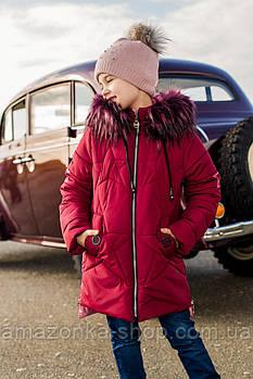 Зимнее пальто для девочек с экомехом - сезон 2019 - (модель КТ-508)