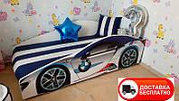 """Кровать машина серия """"Элит"""" модель BMW белый со спортивным матрасом"""