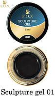 Гель-пластилин для лепки и дизайна ногтей F.O.X Sculpture gel №001, черный