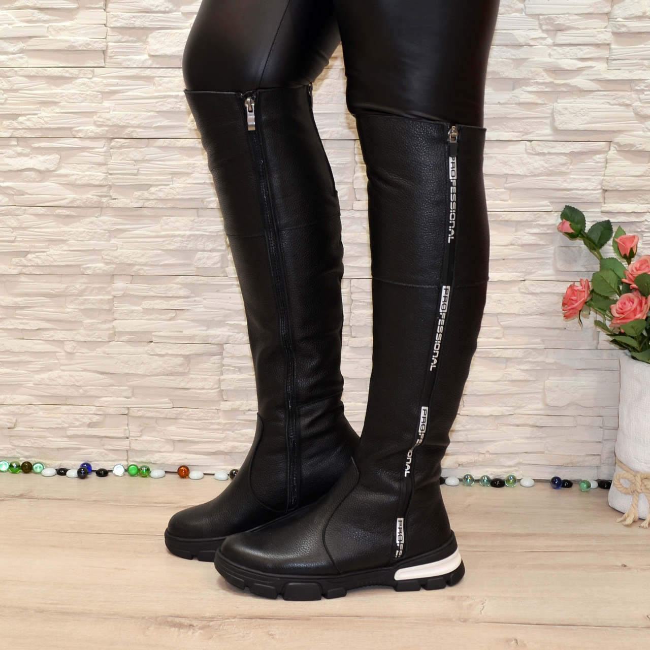 Ботфорты женские зимние кожаные спортивного стиля