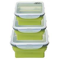 Набор туристической посуды Tramp из 3х контейнеров силиконовых 400/700/1000ml olive (TRC-089-olive)