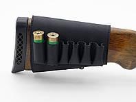 Патронташ на приклад на липучке кожа Ретро черный 10201/1, фото 1