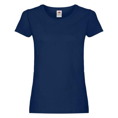 Однотонная женская хлопковая футболка синего цвета