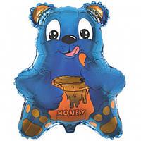 Фольгированный шар  Медведь с бочонком меда  56см х 47см Голубой
