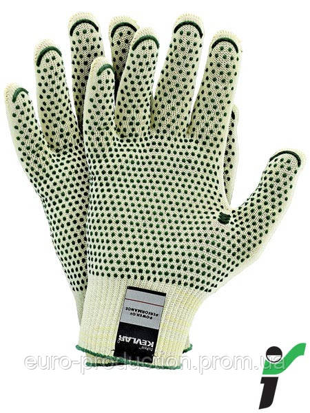 Перчатки защитные трикотажные устойчивые к порезам RJ-KEVLAFIBV YZ