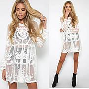 Туника белая  пляжная платье фатин с кружевом