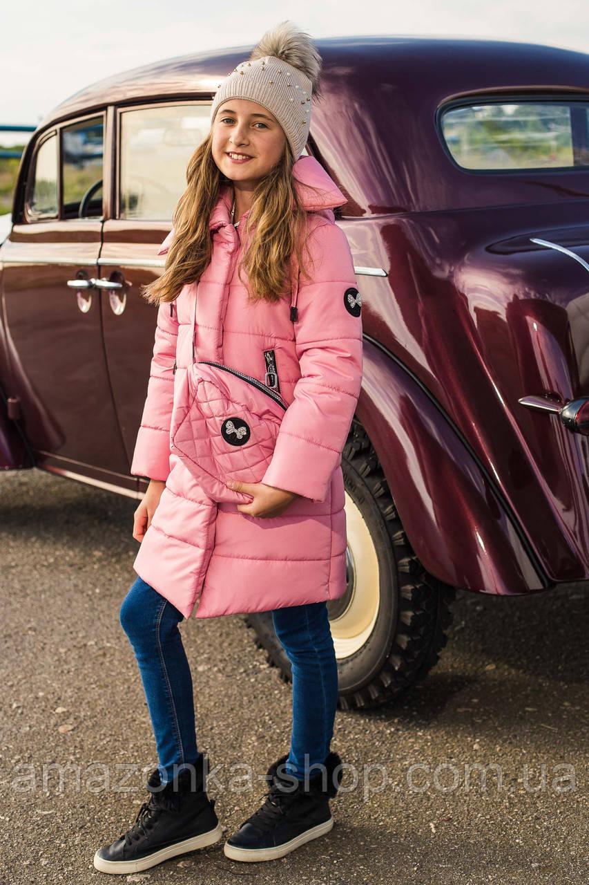 Зимнее брендовое пальто для девочек - сезон 2019 - (модель КТ-561)