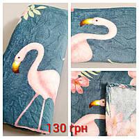 Махровый плед с фламинго