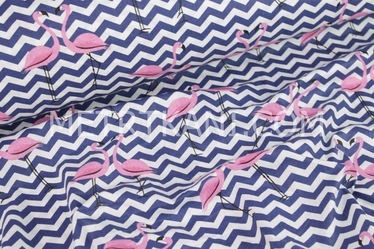 "Ткань хлопковая ""Фламинго на синем зигзаге"" белый фон №1090"
