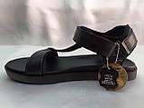 Стильные кожаные комфортные чёрные сандалии Bertoni, фото 3