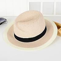Соломенная белая летняя шляпа с черной окантовкой опт