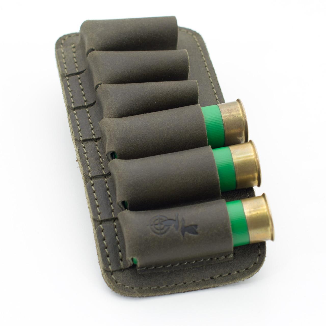 Подсумок на 6 патронов открытый кожа - Ретро оливковый 10157/3
