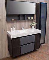Черный комплект мебели для ванной 120 см Barbados 3 Fancy Marble