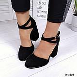 Элегантные черные замшевые  туфли на каблуке, фото 3