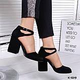 Элегантные черные замшевые  туфли на каблуке, фото 4