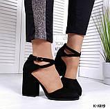 Элегантные черные замшевые  туфли на каблуке, фото 6