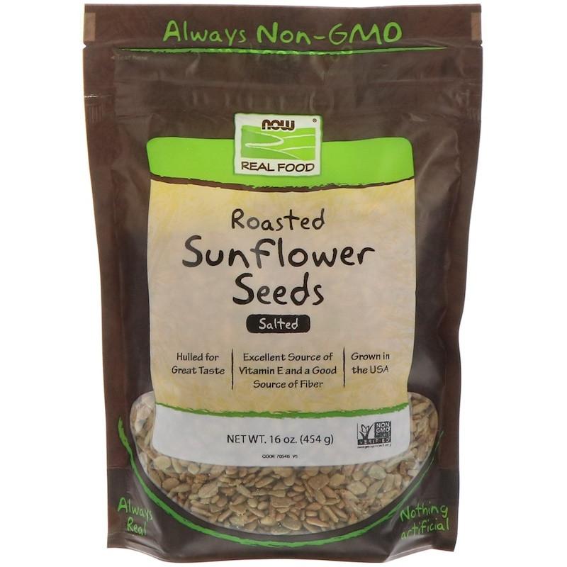 """Смажені насіння соняшнику NOW Foods, Real Food """"Roasted Sunflower Seeds"""" солоні (454 г)"""