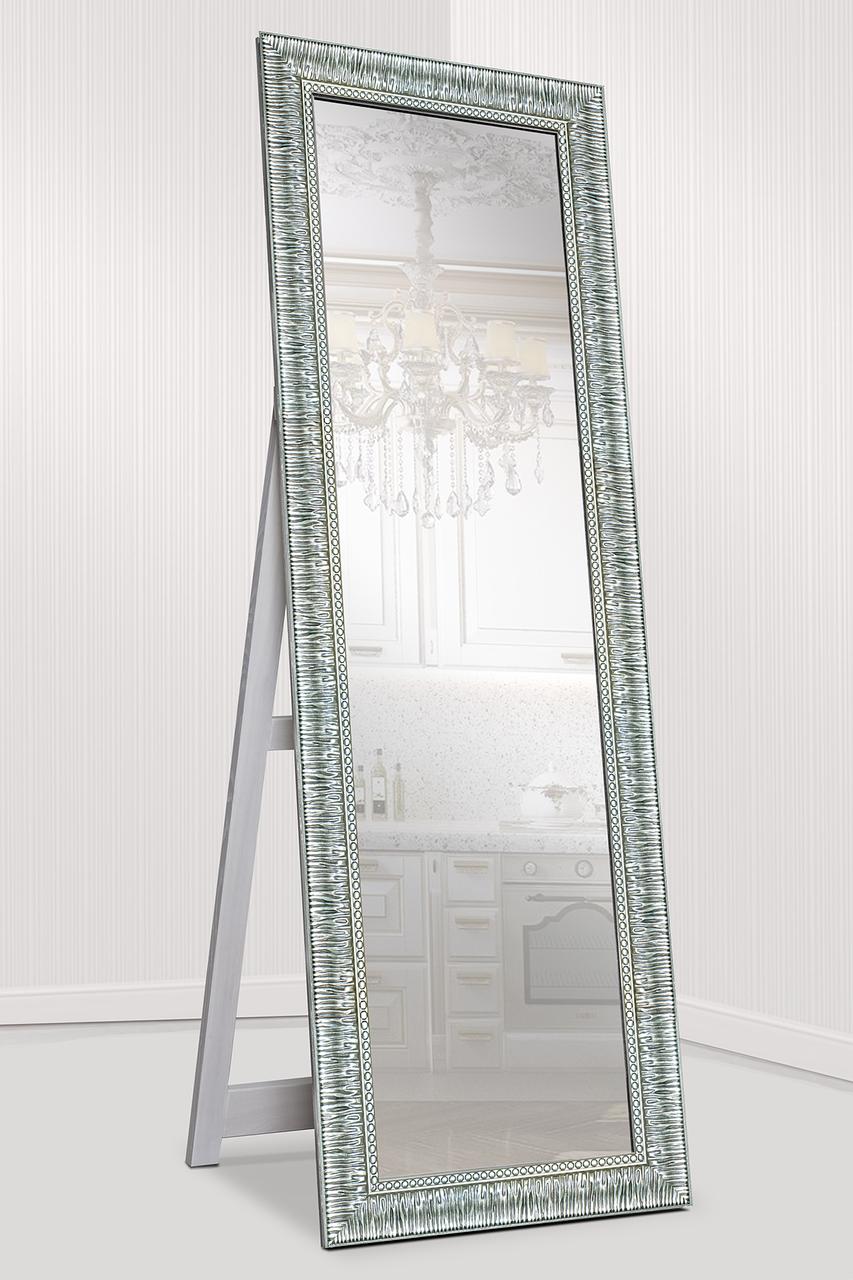Зеркало напольное в раме Factura с опорной деревянной подставкой Grace Steel 60х174