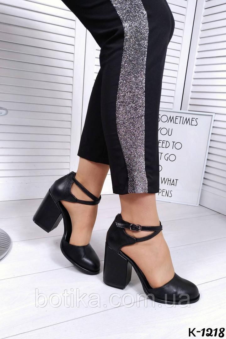 Элегантные черные кожаные туфли на каблуке