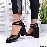 Элегантные черные кожаные туфли на каблуке, фото 5